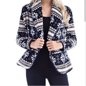 Navy, Taupe, and White Print Fleece Jacket